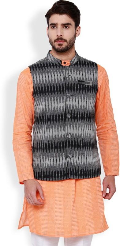 Svanik Sleeveless Geometric Print Men Jacket