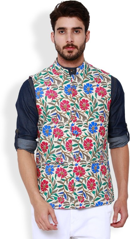 Svanik Sleeveless Printed Men Jacket