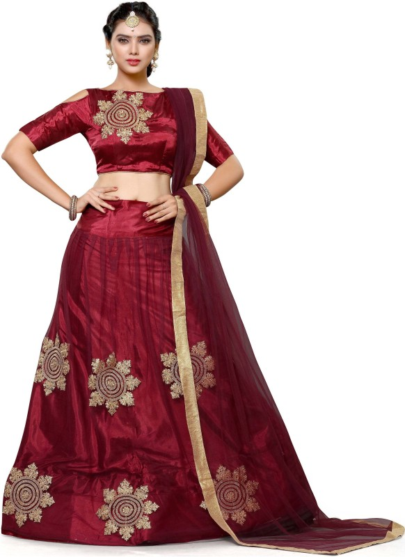 Ashiti Fashion Embroidered Women's Semi Stitched(Maroon, Size: Free)