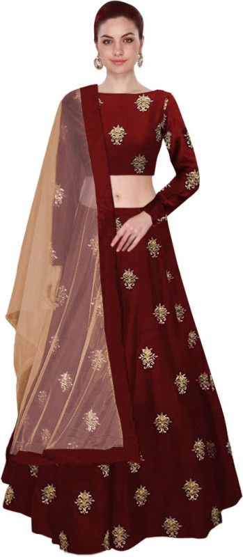 Omstar Fashion Embroidered Semi Stitched Lehenga, Choli and Dupatta Set(Maroon)