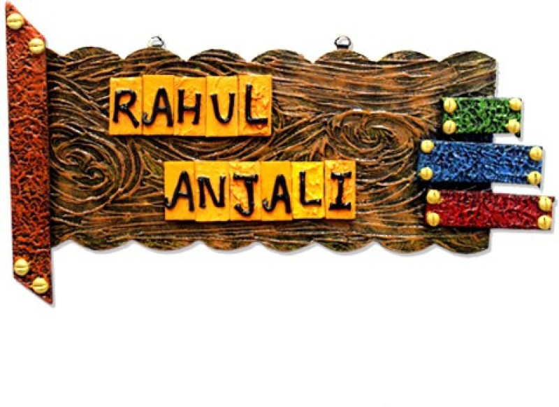 7 Ocean Wooden Multi taxture Name Plate(Multicolor)