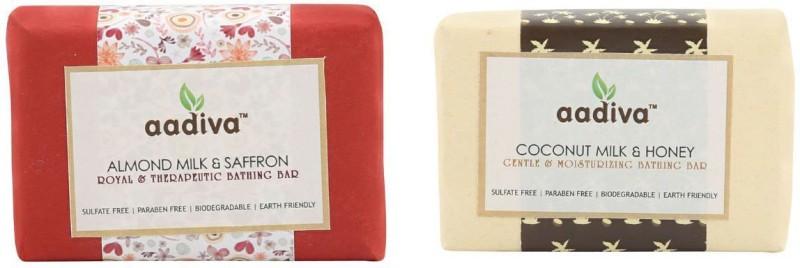 Aadiva Almond Milk & Saffron, Coconut Milk & Honey Soap(200 g, Pack of 2)