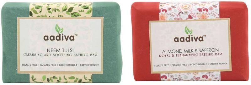 Aadiva Neem Tulsi and Almond Milk & Saffron Soap(200 g, Pack of 2)