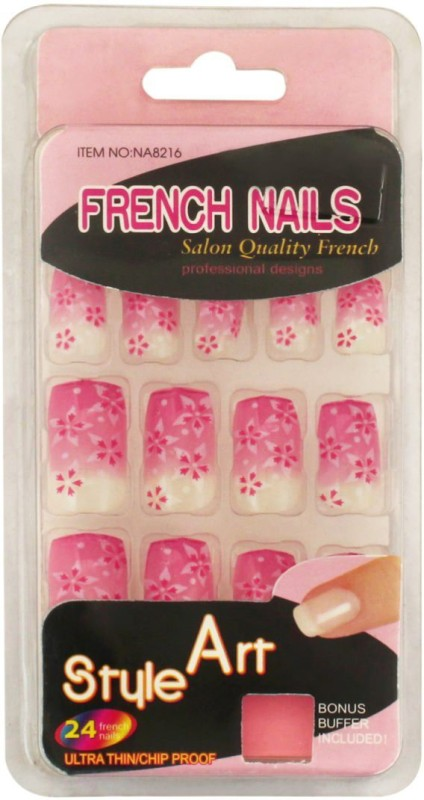 Ear Lobe & Accessories Personal /Professional Reusable False French Nails Pink(Pack of 24)