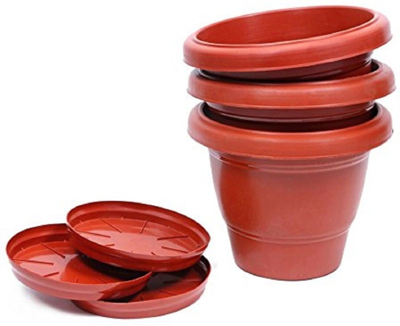 Klassic Dark Brown Pot Plant Container Set(Plastic)