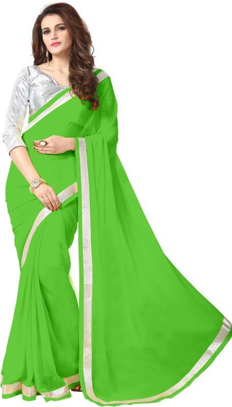 onlinefayda Plain Daily Wear Georgette Saree(Green)