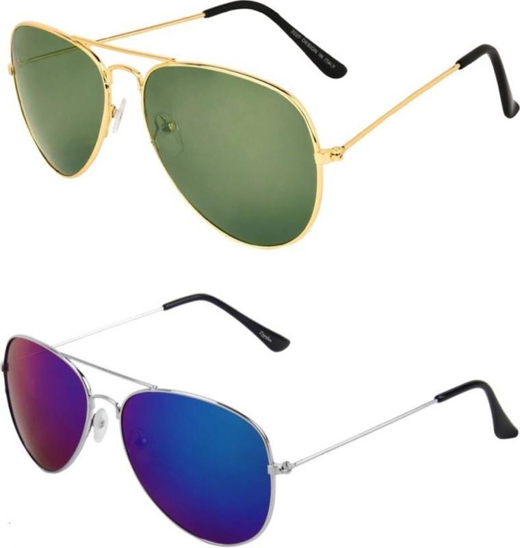 Ejebo Aviator Sunglasses(Green, Blue)