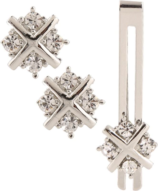 Miami Silver, Brass, Crystal Cufflink & Tie Pin Set(Silver)