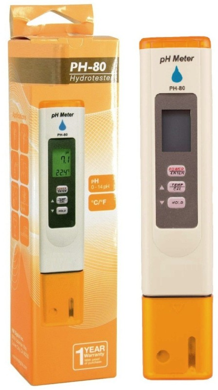 BalRama Digital PH Meter & Temperature Meter pH-80 pH Hydrotester Water Resistant + Automatic Digital Calibration Handheld Portable Pen Water Quality Tester For Measuring & Testing Applications Such As Hydroponics & Gardening, Pools & Spas, Aquariums & Re