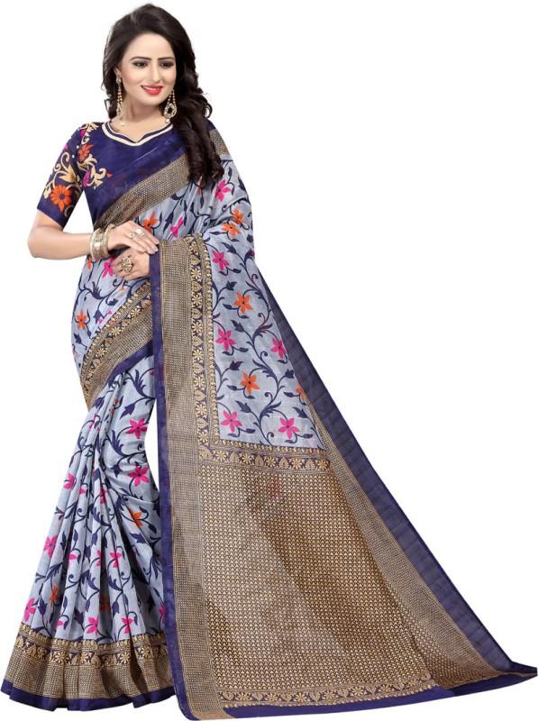 KitKet Fashion Printed Bhagalpuri Art Silk Saree(Dark Blue)