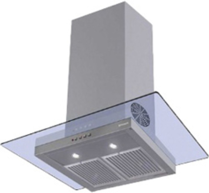 faber HOOD GLASSY 3D T2S2 LTW 90 CHIMNEY (with free gift cutlery set from Giftipedia) Wall Mounted Chimney(Grey 1095)