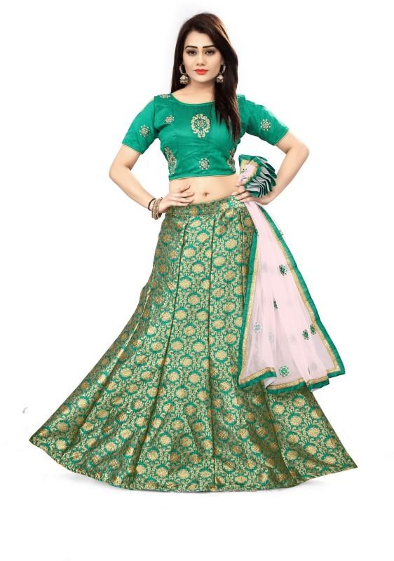 Fabcartz Self Design Semi Stitched Lehenga Choli(Green)