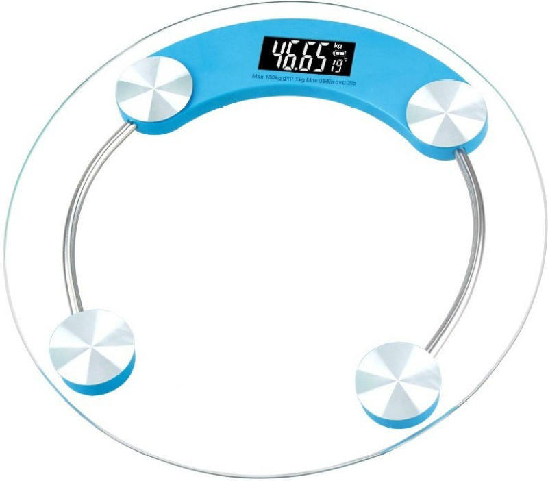 Alpha Digital Personal Body Weighing Scale with Temperature and Battery Indicator White display 180 kg Weighing Scale(Pink or Blue)