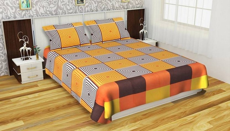 CHUNNU2STAR 144 TC Microfiber Double Checkered Bedsheet(Pack of 1, Multicolor)