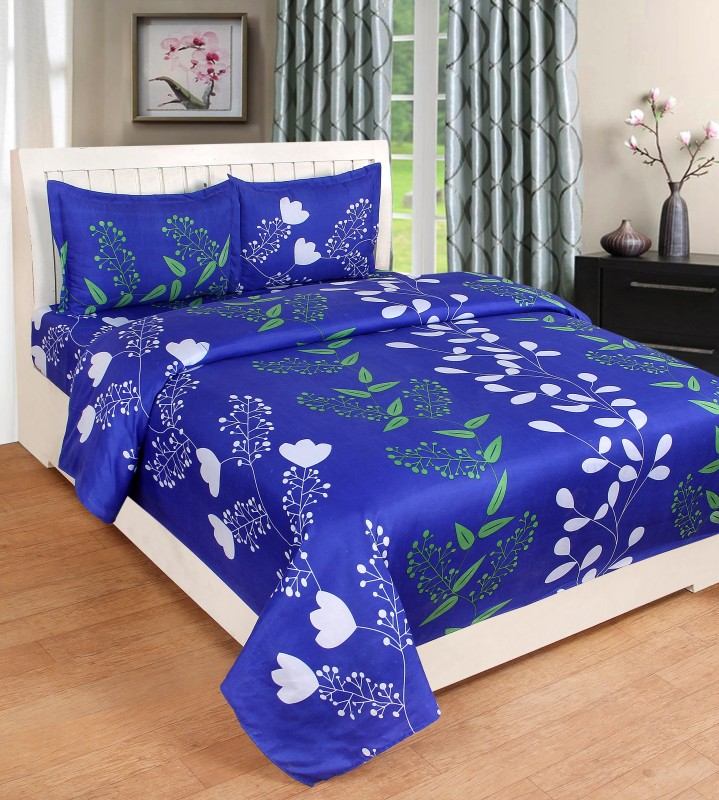 BSB Trendz 120 TC Polycotton Double 3D Printed Bedsheet(1 Bedsheet 2 Pillow Cover, Blue)