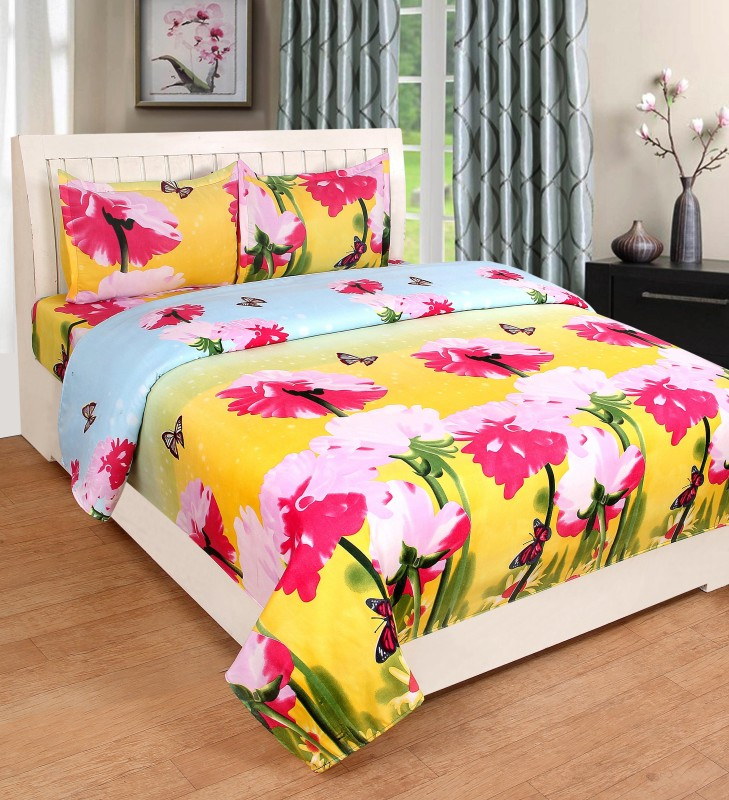 BSB Trendz 120 TC Polycotton Double 3D Printed Bedsheet(1 Bedsheet 2 Pillow Cover, Yellow)