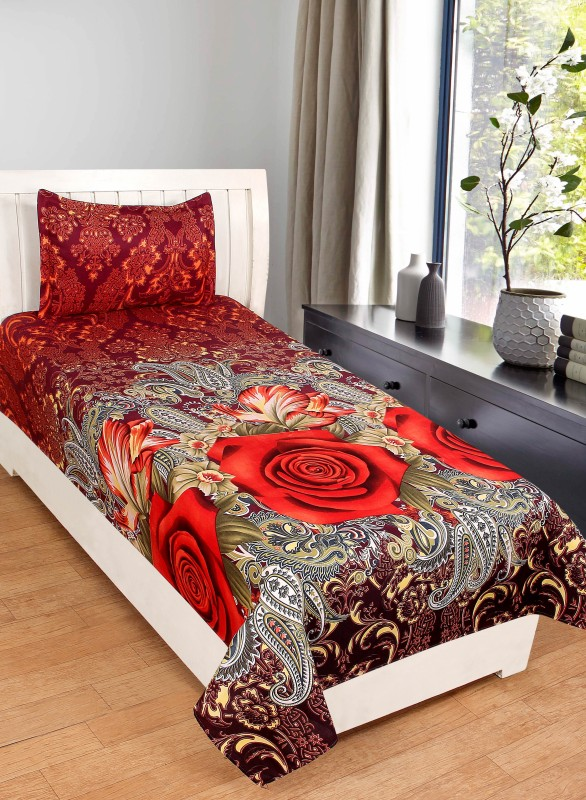BSB Trendz 120 TC Polycotton Double 3D Printed Bedsheet(1 Bedsheet 1 Pillow Cover, Multicolor)