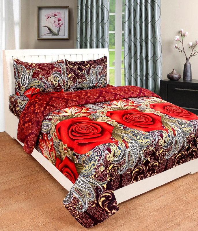 BSB Trendz 120 TC Polycotton Double 3D Printed Bedsheet(1 Bedsheet 2 Pillow Cover, Maroon)