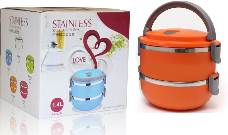 Akshat stainless steel double insulated multipurpose 2 Containers Lunch Box (1400 ml) 2 Containers Lunch Box(1400 ml)