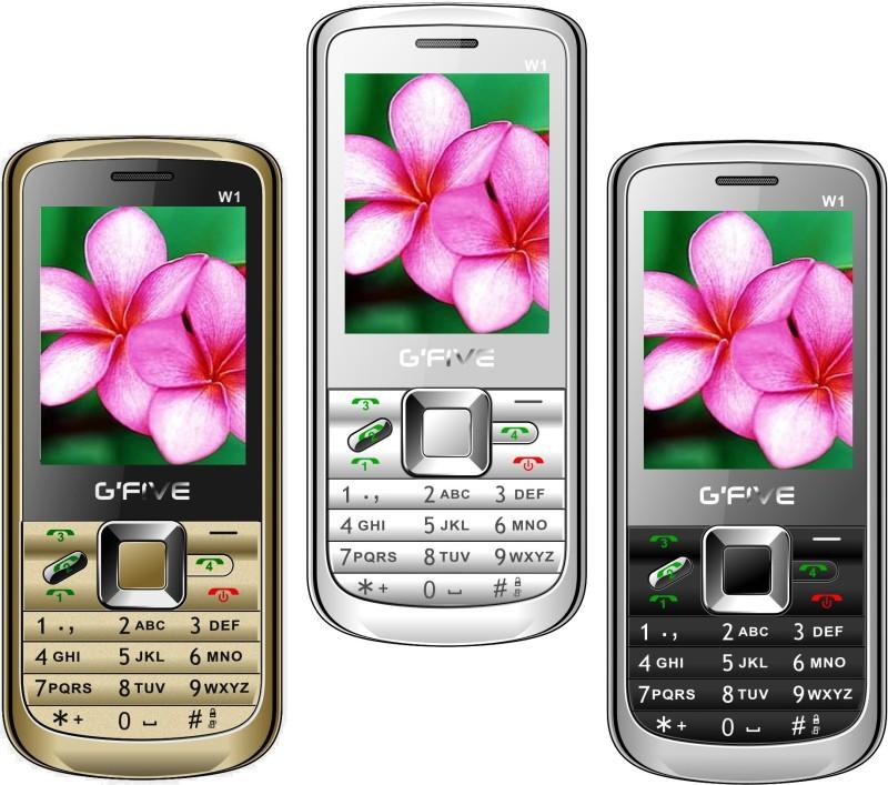 Gfive W1 Combo of Three Mobiles(Gold $$ White $$ Black)