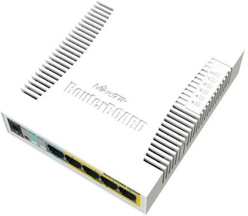 Mikrotik 5x Gigabit PoE out Ethernet Smart Switch, SFP cage, plastic case, SwOS Network Switch(White) image