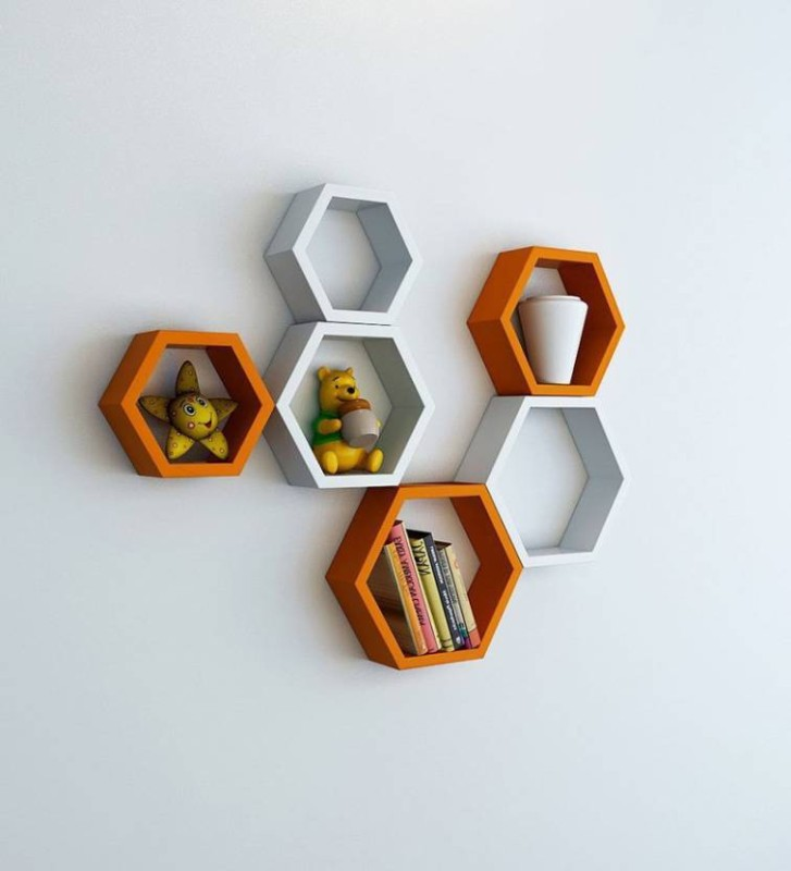MartCrown wooden wall decor wall stand Wooden Wall Shelf(Number of Shelves - 6, Orange, White)