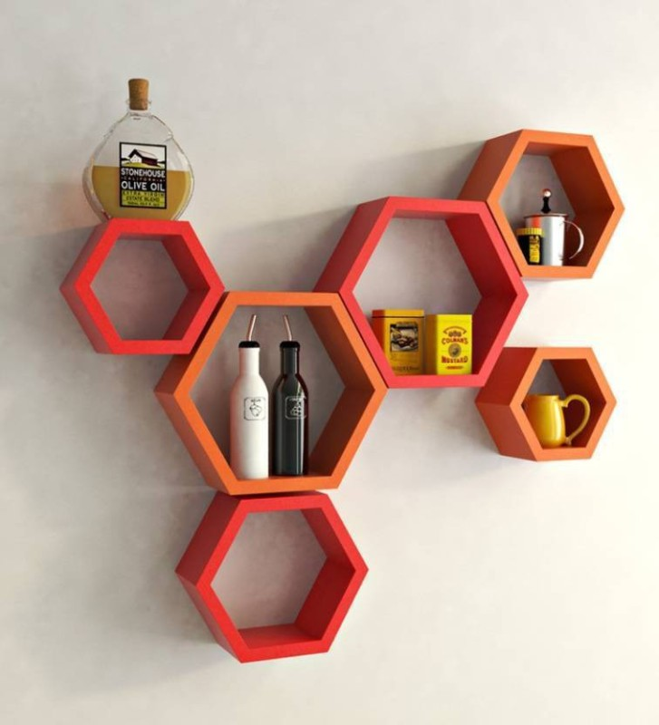 MartCrown wall stand wall shelf Wooden Wall Shelf(Number of Shelves - 6, Steel, Red)