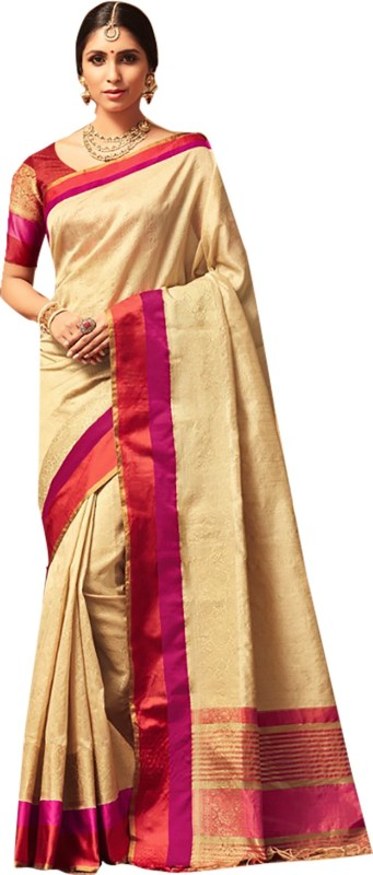 Ishin Woven Bollywood Art Silk Saree(Beige)