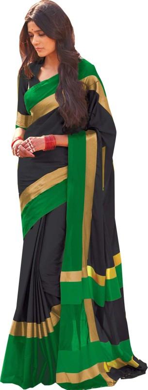 Ishin Woven Bollywood Cotton Saree(Black)