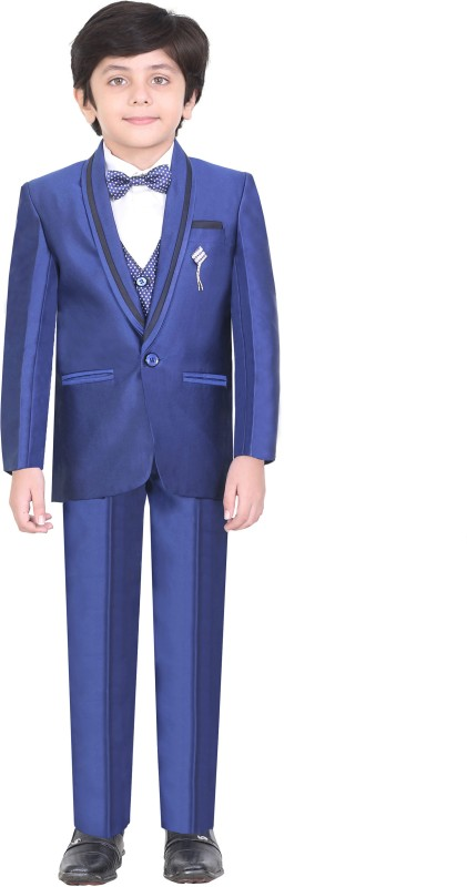 Jeetethnics Coat Suit Set with Shirt Solid Boys Suit