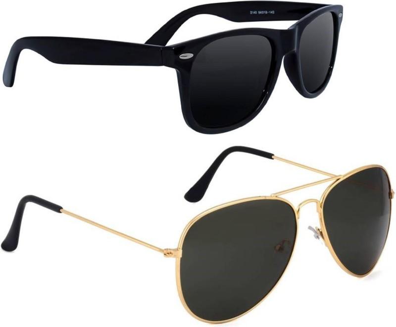 Deixels Aviator, Wayfarer Sunglasses(Black) image