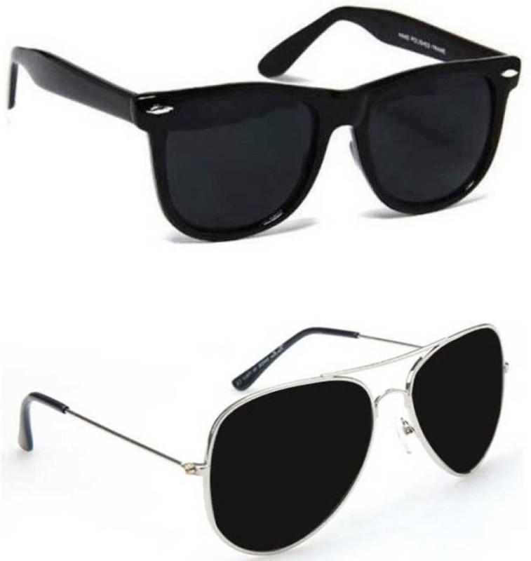 Elgator Aviator, Wayfarer, Oval Sunglasses(Black, Black) image