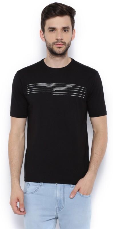 Van Heusen Printed Men Round Neck Black T-Shirt