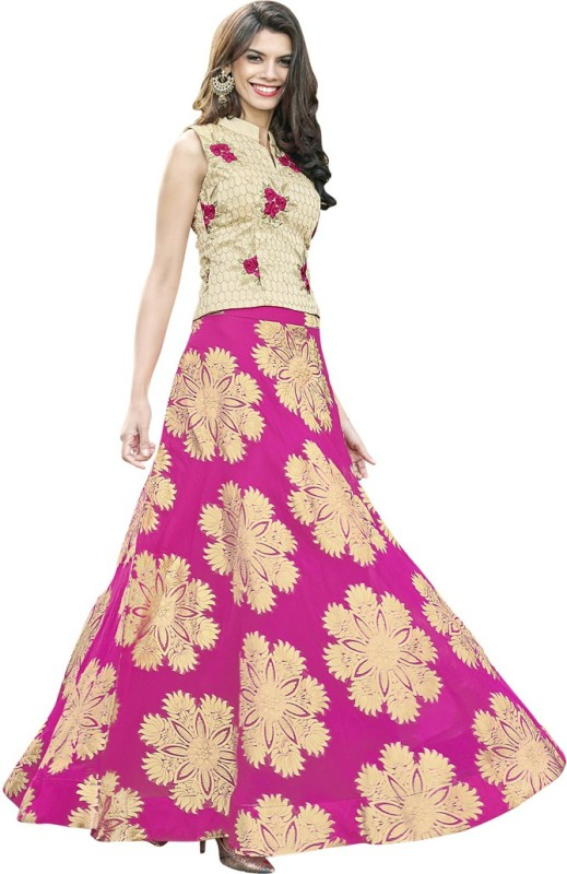 Saara Self Design Semi Stitched Lehenga, Choli and Dupatta Set(Beige, Pink)