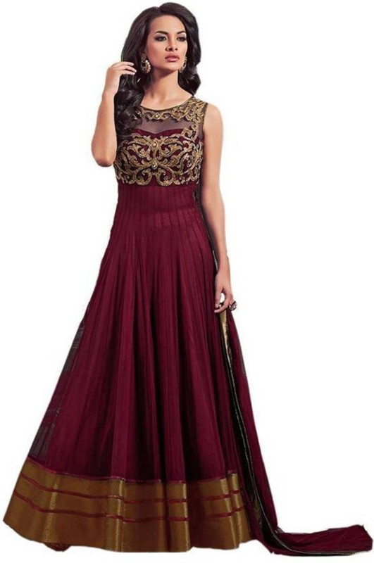 Dwitstyle Embroidered Women Semi Stitched(Maroon, Size: Free)
