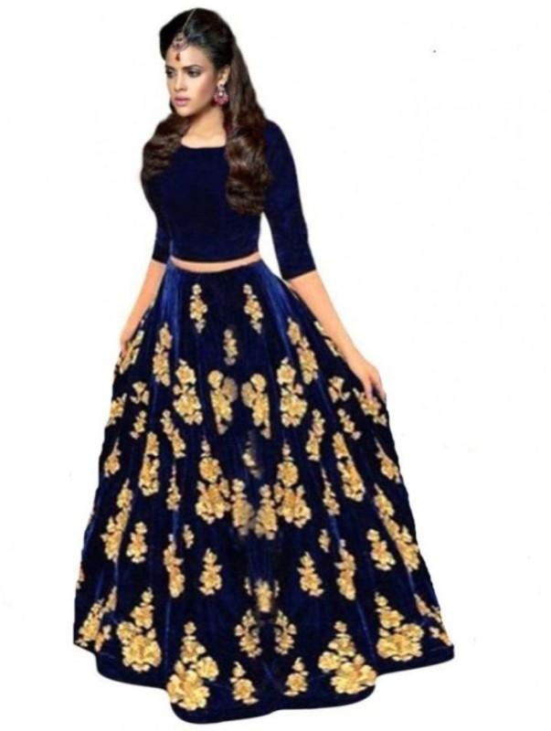 Omstar Fashion Embroidered Lehenga Choli(Blue)