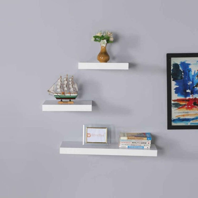 MartCrown wooden floating wall decor wall stand wall shelf Wooden Wall Shelf(Number of Shelves - 4, White)