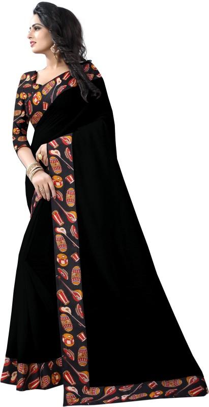 Pari Designer Self Design Kalamkari Poly Chanderi Saree(Black)