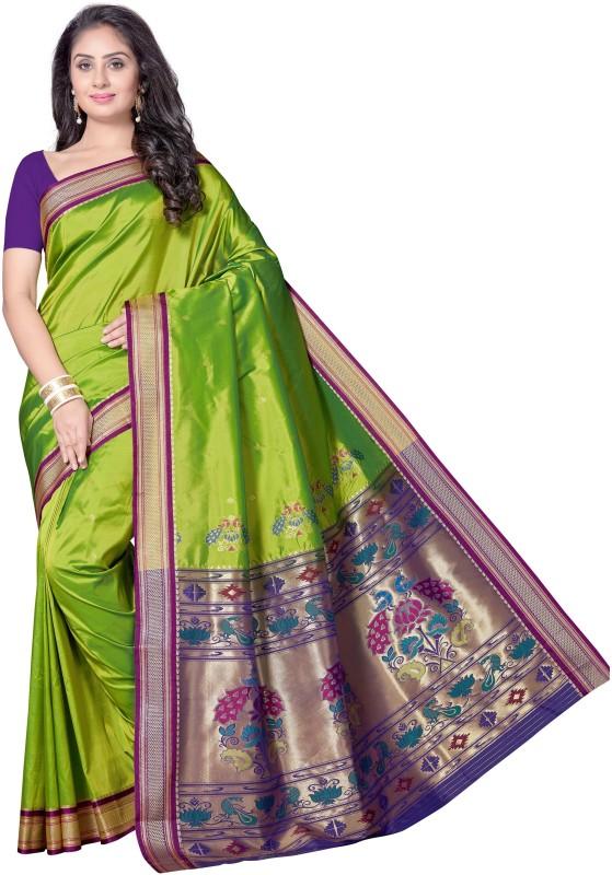 Rani Saahiba Woven Paithani Art Silk Saree(Green)