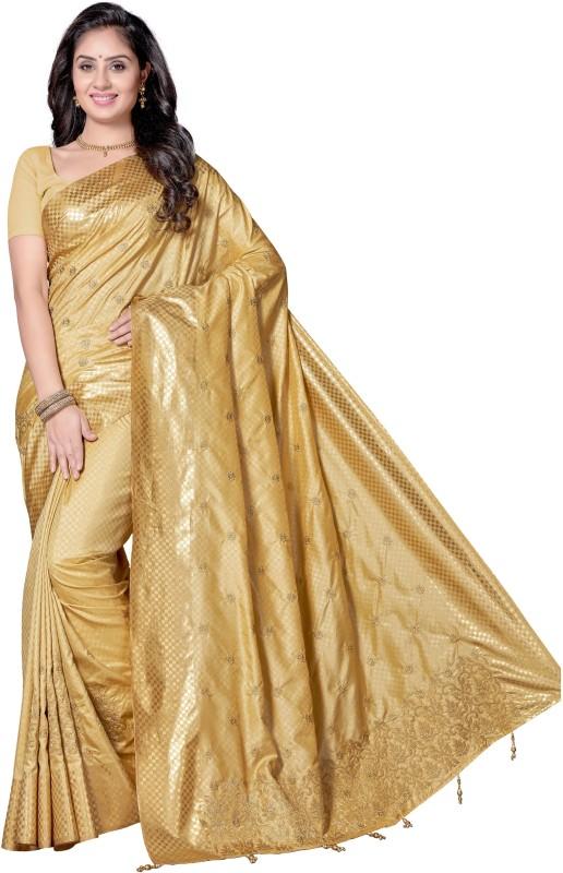 Rani Saahiba Embroidered Bollywood Shimmer Fabric, Art Silk Saree(Beige)