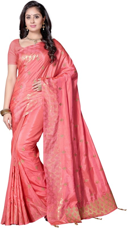 Rani Saahiba Embroidered Bollywood Shimmer Fabric, Art Silk Saree(Pink)