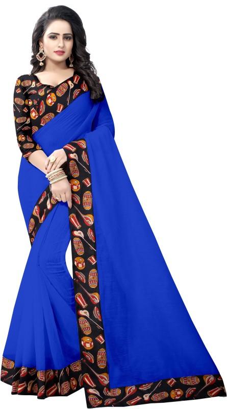 Pari Designer Self Design Kalamkari Poly Chanderi Saree(Blue)