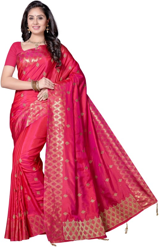 Rani Saahiba Embroidered Bollywood Shimmer Fabric, Art Silk Saree(Purple)