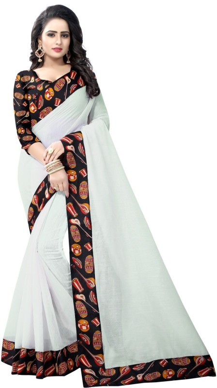 Pari Designer Self Design Kalamkari Poly Chanderi Saree(White)