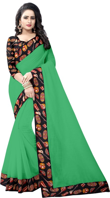 Pari Designer Self Design Kalamkari Poly Chanderi Saree(Green)