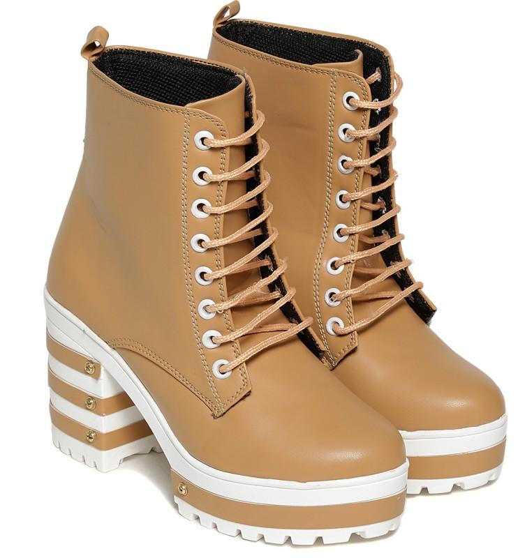 TEN Beige Boots Boots For Women(Beige)