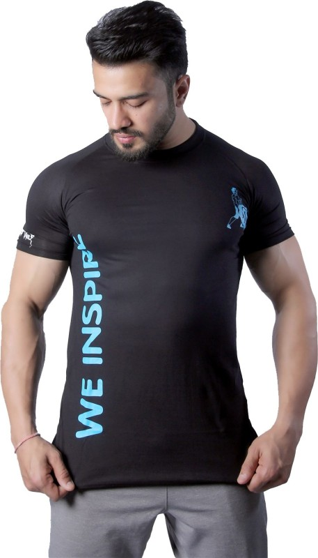 GreyWolf Fitness Solid Men Round Neck Black T-Shirt