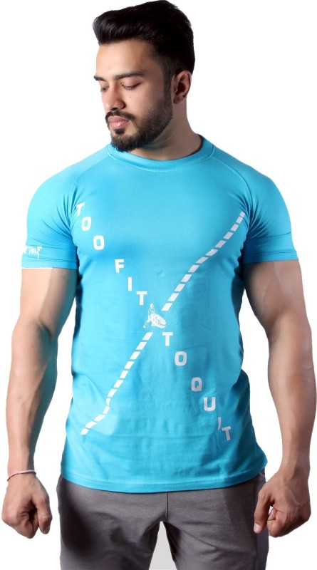 GREYWOLF FITNESS Solid Men's Round Neck Light Blue T-Shirt