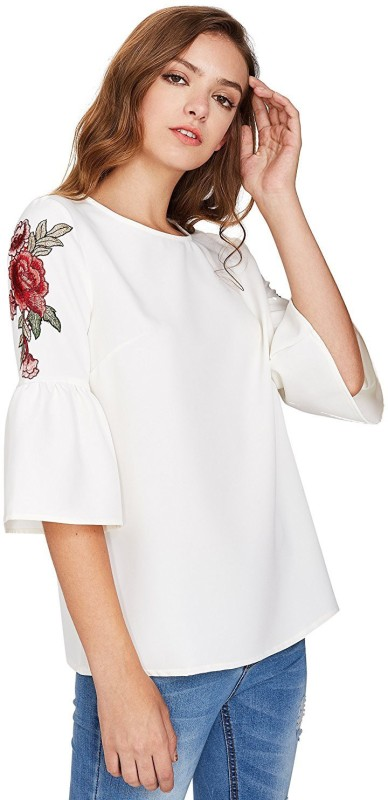Khhalisi Party Bell Sleeve Solid Women's White Top