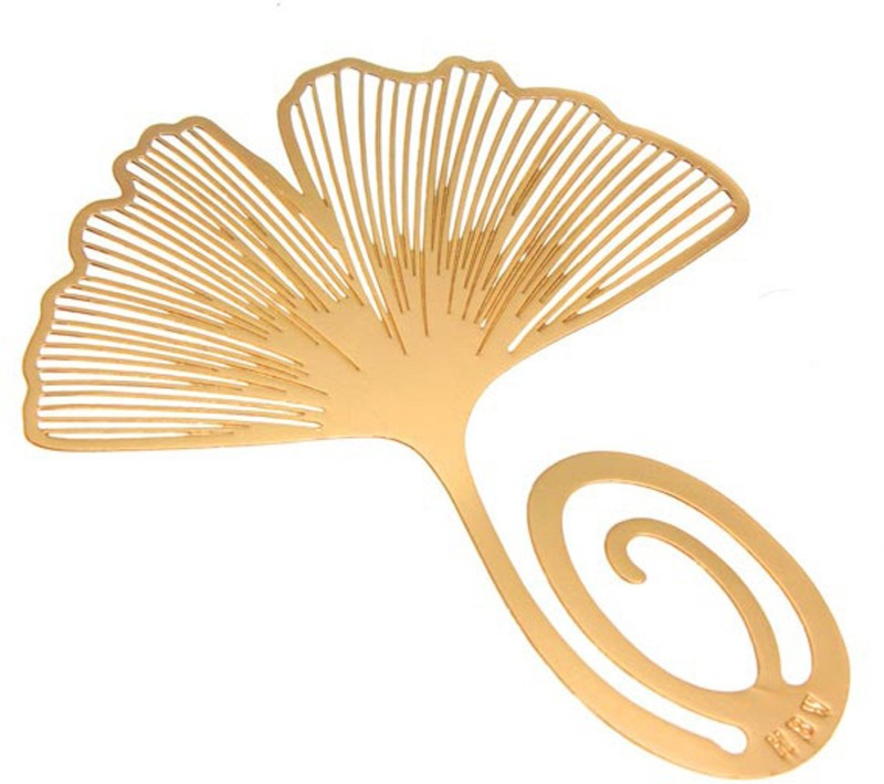 Adraxx Gold-Plated Golden Ginkgo Leaf Metal Bookmark, An Ideal valentine day Gift For Friends, Family & Loved Ones Metal Clip Bookmark(Classical Exquisite, Golden)
